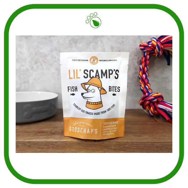 Goodchap's Lil' Scamp's sustainably sourced fish bites for dogs
